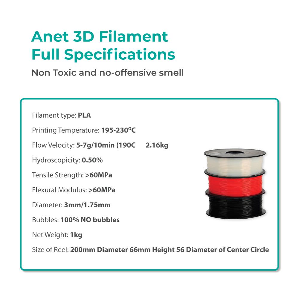 2 Units Anet 340m 1.75mm PLA 3D Printing Filament Biodegradable Material (Black)