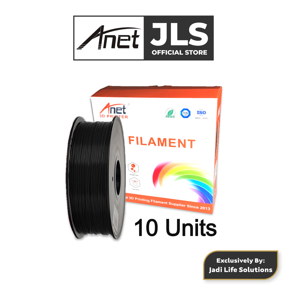 10 Units Anet 340m 1.75mm PLA 3D Printing Filament Biodegradable Material (Black)