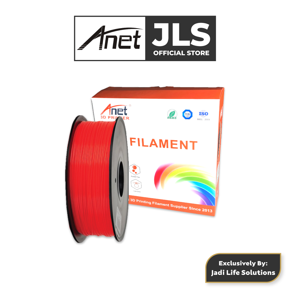 ANET 340M 1.75MM PLA 3D Printing Filament Biodegradable Material (RED)