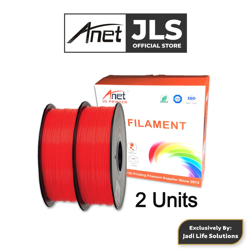 2 Pieces Anet 340m 1.75mm PLA 3D Printing Filament Biodegradable Material (Red)