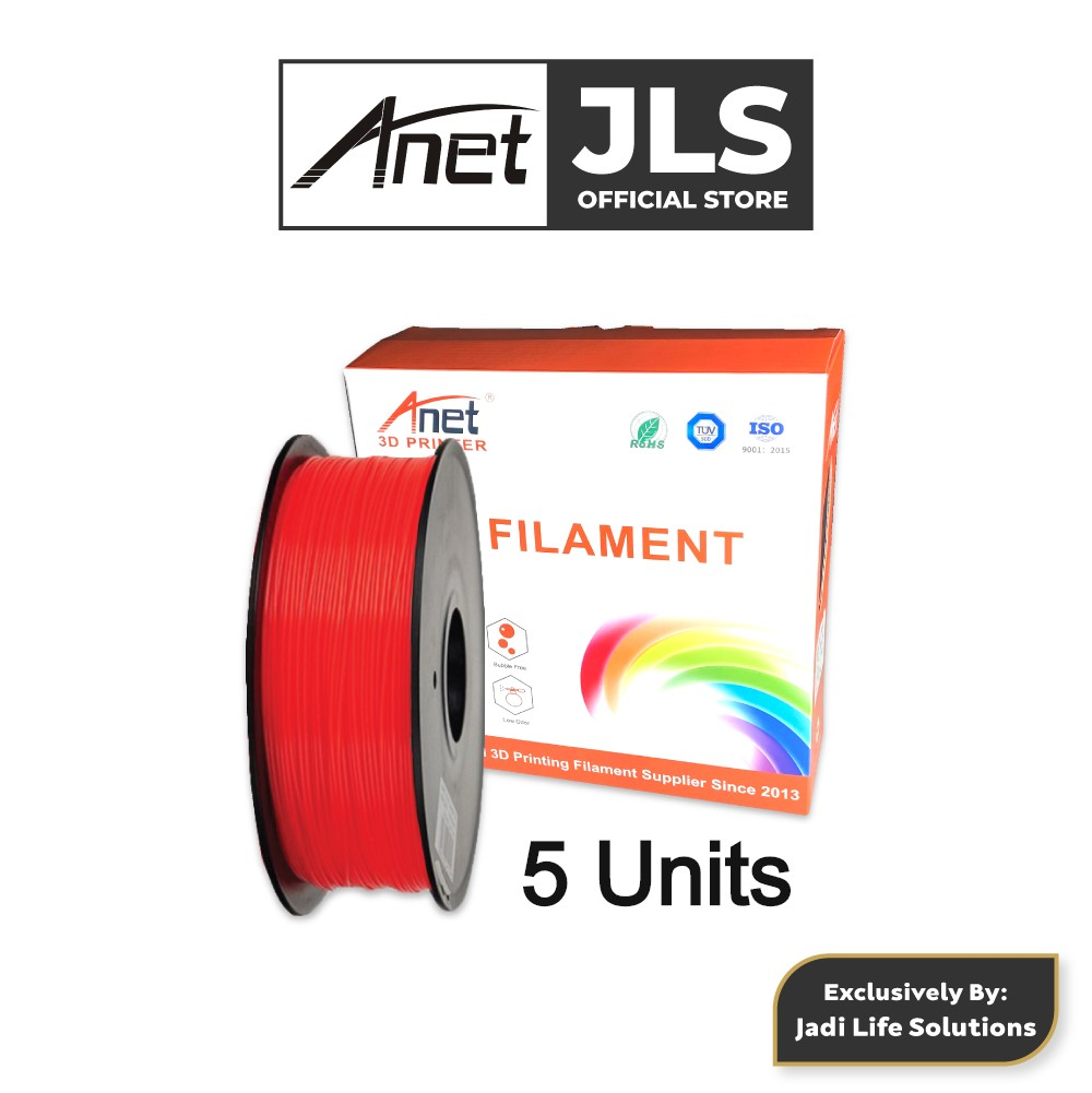 5 Units Anet 340m 1.75mm PLA 3D Printing Filament Biodegradable Material (Red)
