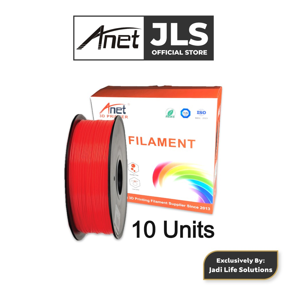 10 Units Anet 340m 1.75mm PLA 3D Printing Filament Biodegradable Material (Red)