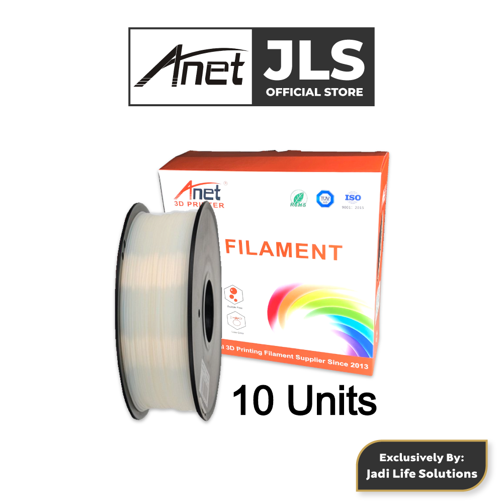 10 Units Anet 340m 1.75mm PLA 3D Printing Filament Biodegradable Material (White)