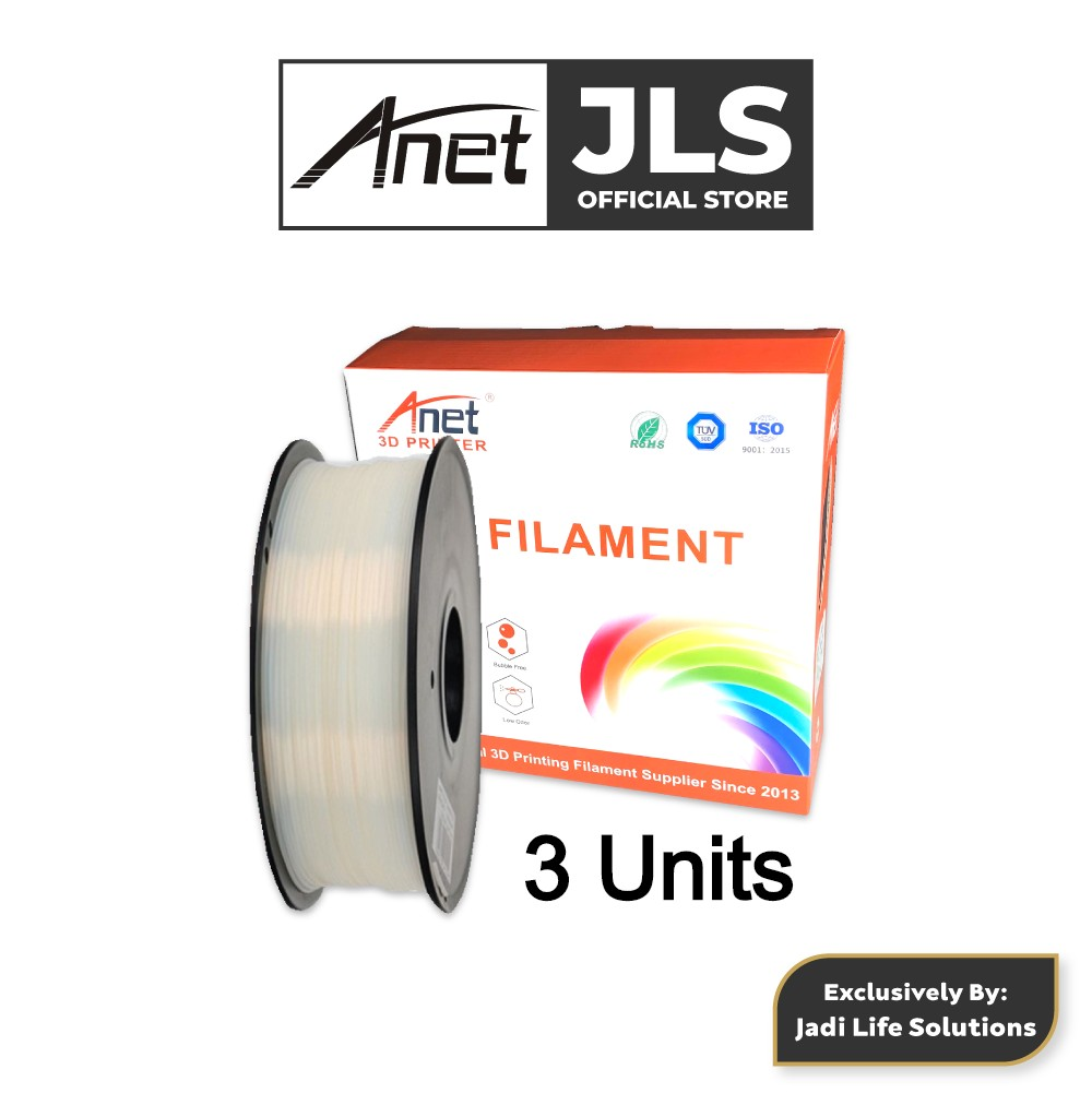 3 Units Anet 340m 1.75mm PLA 3D Printing Filament Biodegradable Material (White)