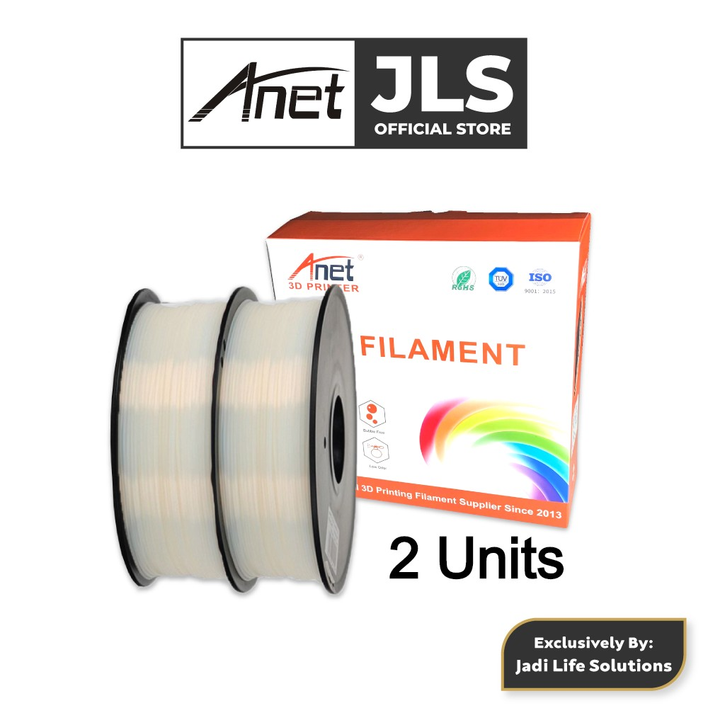2 Units Anet 340m 1.75mm PLA 3D Printing Filament Biodegradable Material (White)