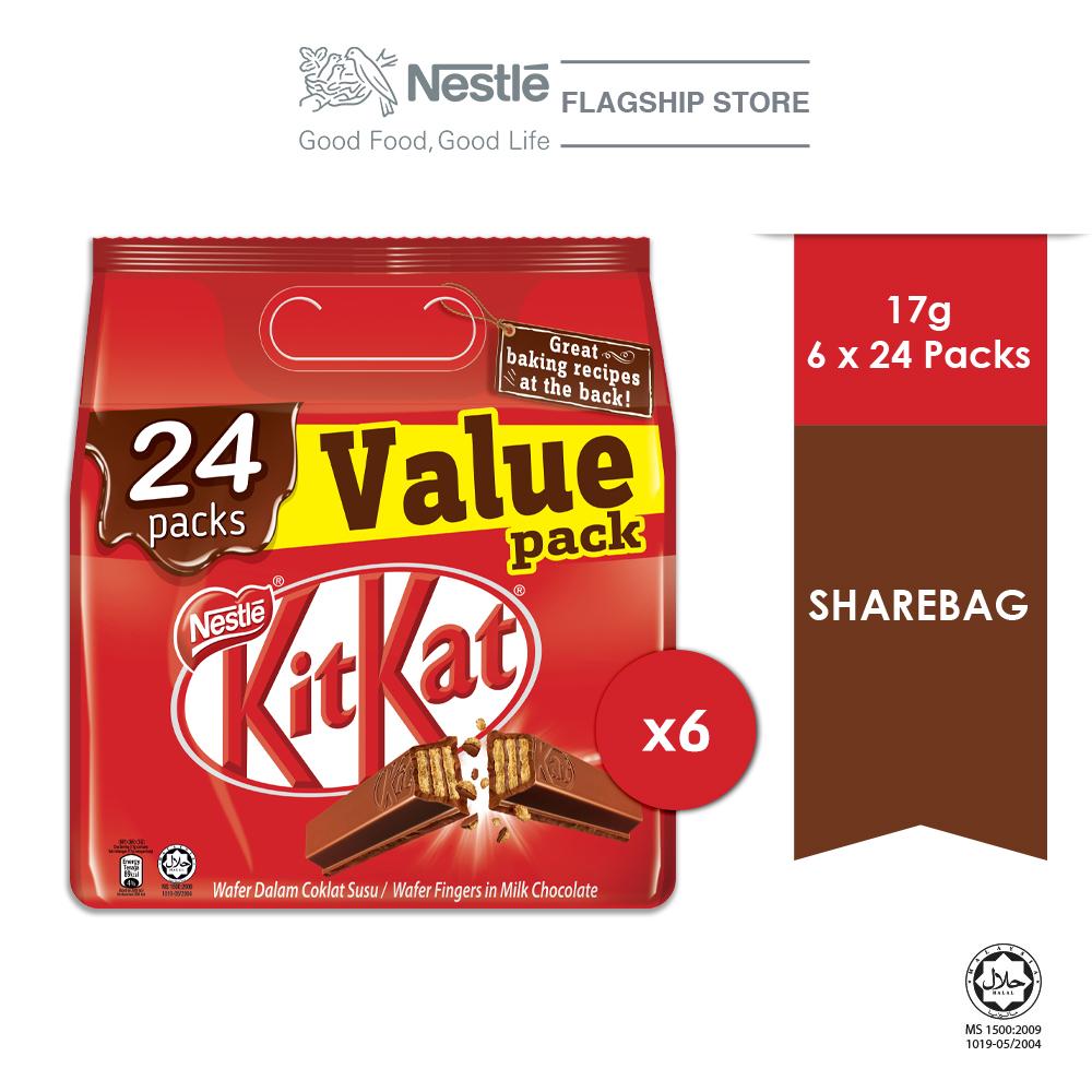 Nestle KITKAT 24 Packs Value Share bag, Bundle of 6