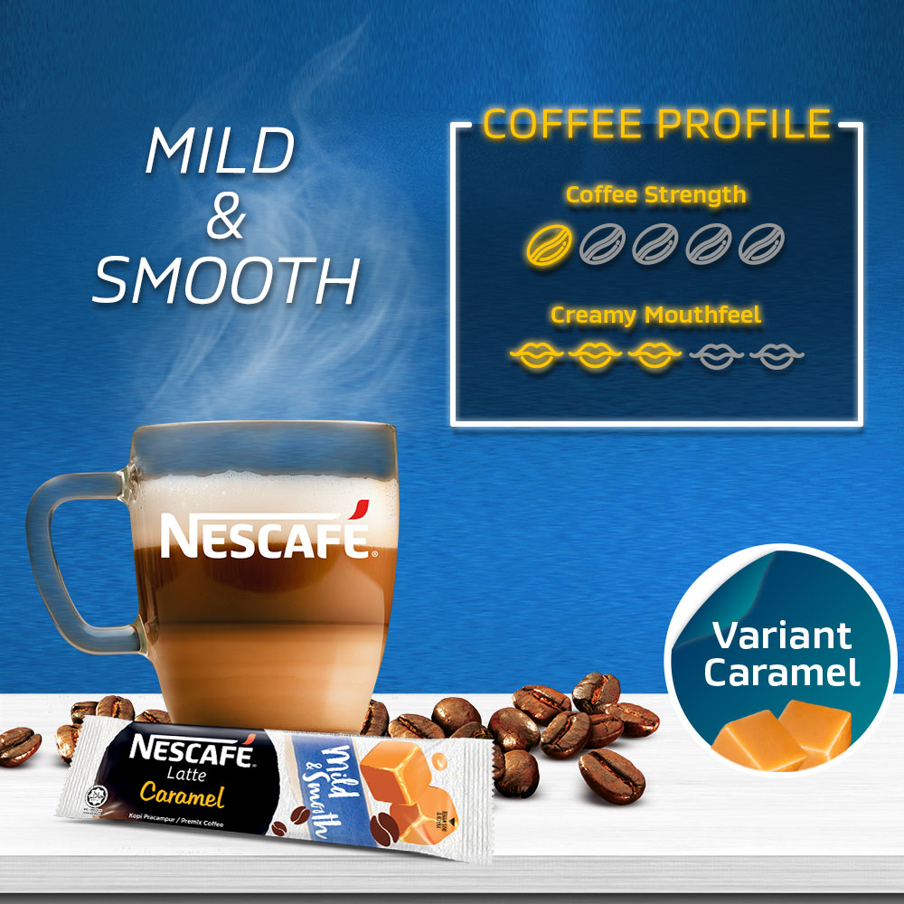 NESCAFE Latte Caramel Coffee 20x25g Free Duffel, x2packs
