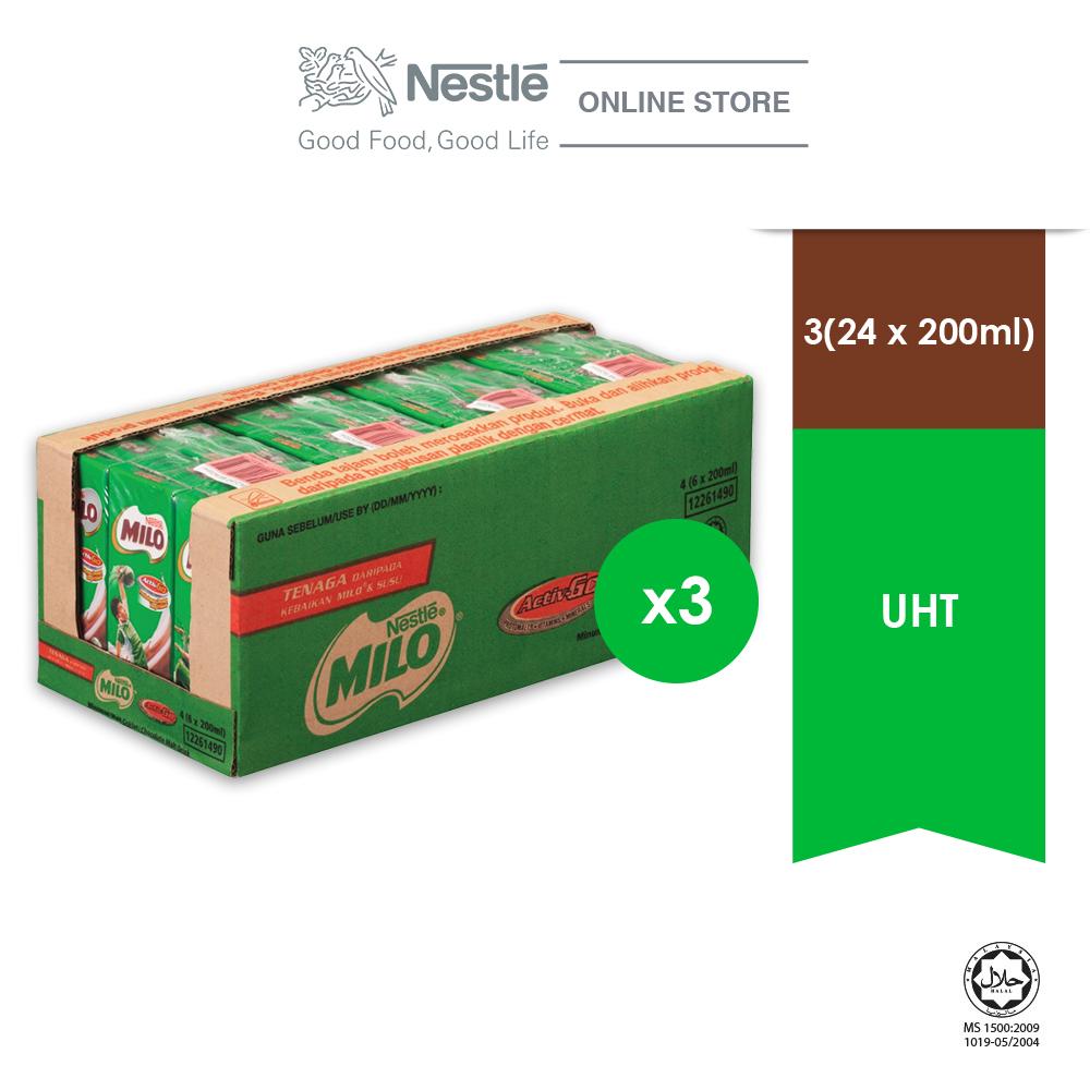 [11.11 Deal] NESTLE MILO ACTIV-GO UHT 24 x 200ml (Cartons), Bundle of 3