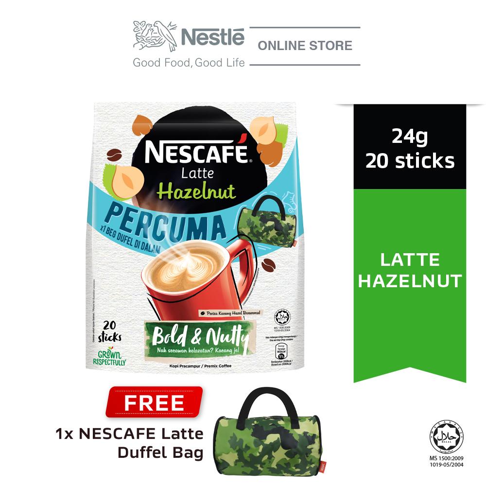 NESCAFE Latte Hazelnut 20x24g Free Duffel Bag
