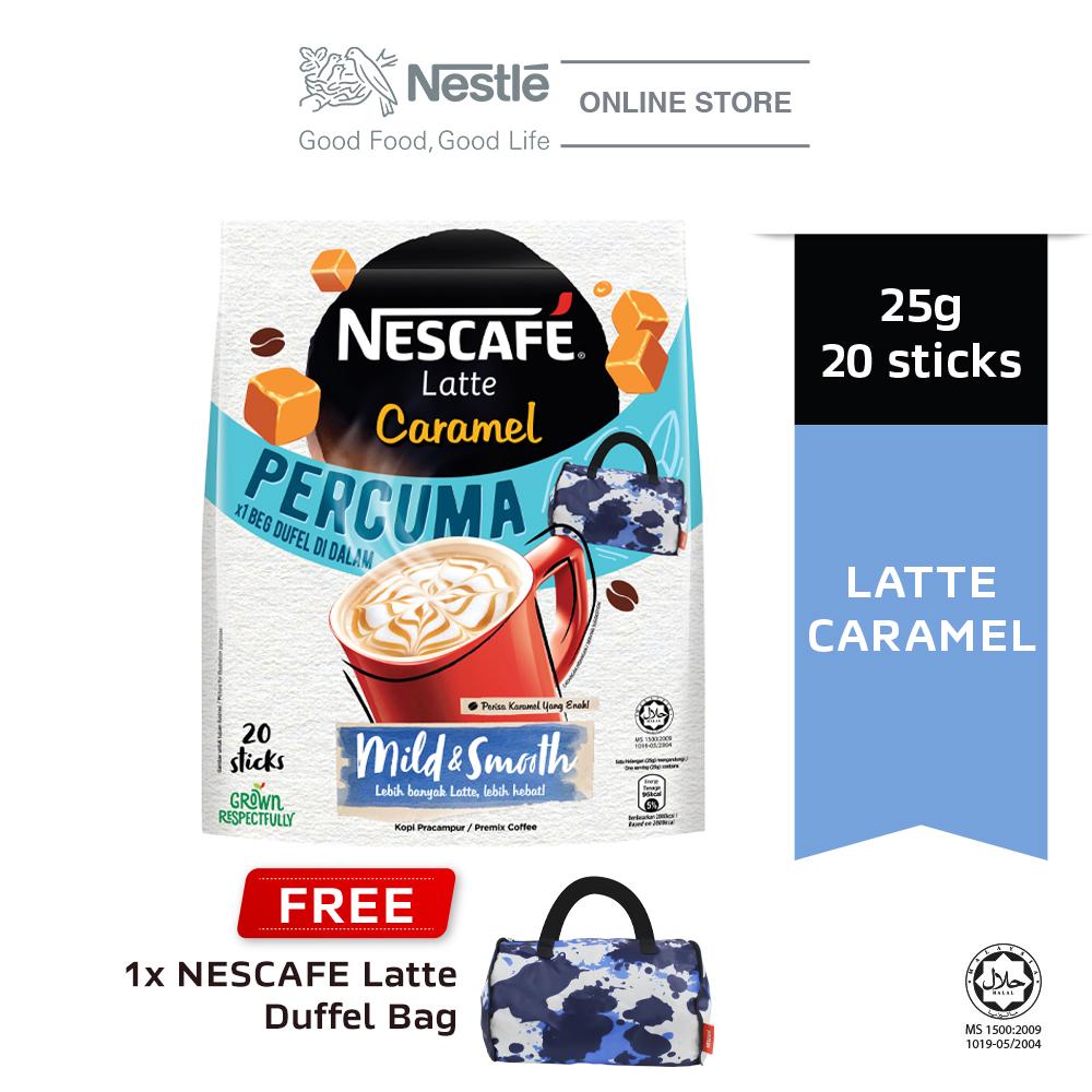 NESCAFE Latte Caramel Coffee 20x25g Free Duffel Bag