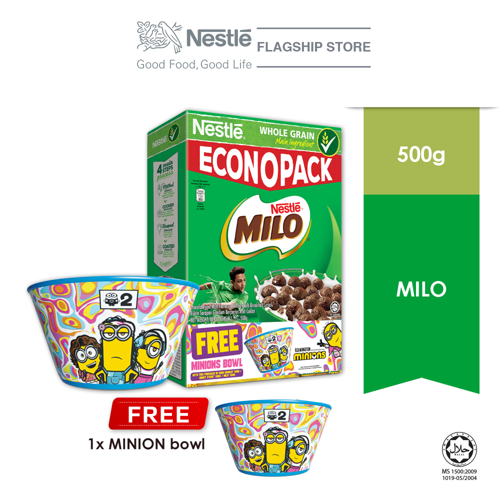 Nestle MILO Cereal Econopack 500g FREE Minion Bowl