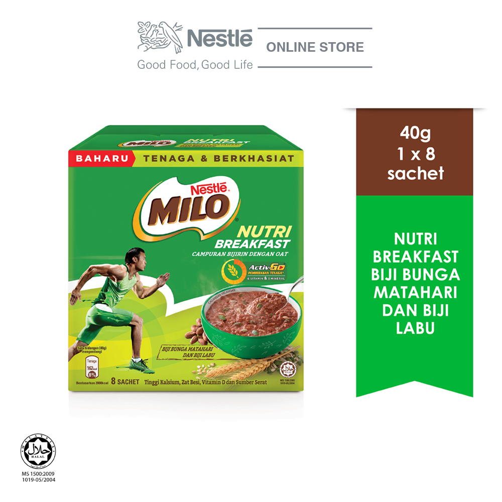 Nestle  MILO® Nutri Breakfast Sunflower Seeds & Pumpkin Seeds 8x40g