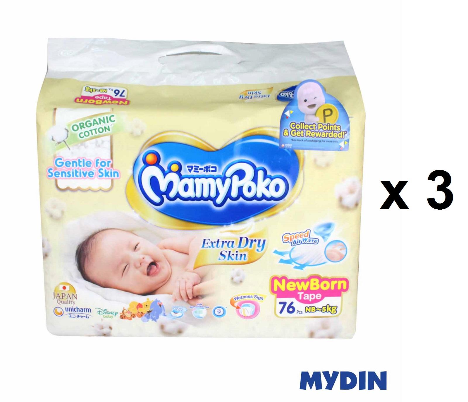 Mamypoko Organic Tape Sj Extra Dry Newborn (76pcs x 3)