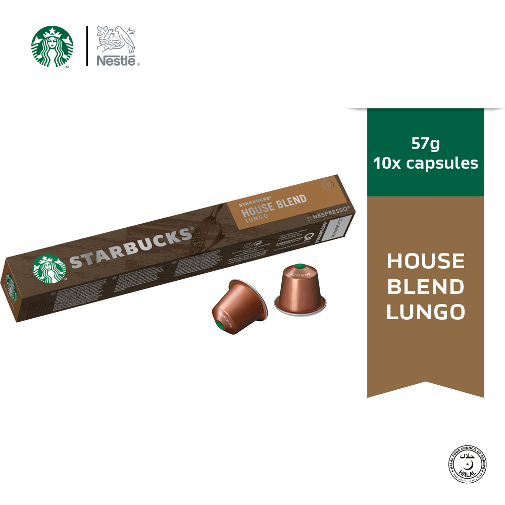 Starbucks® House Blend® Lungo by Nespresso® Medium Roast Coffee Capsules,10 capsules