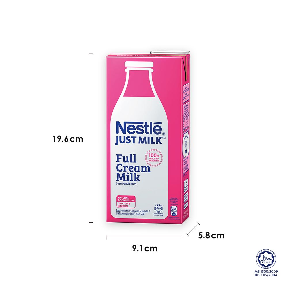 NESTLE JUST MILK™ Full Cream 1L, x3 packs