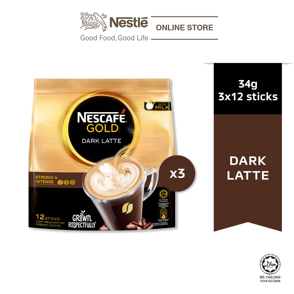 NESCAFE GOLD Dark Latte 15sticks, 34g Bundle of 3