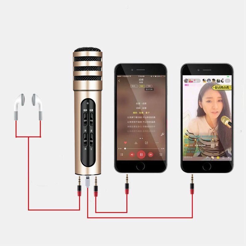 KK Portable C7 Multicolor Microphone Karaoke KTV Mic Recording Feature for phone PC