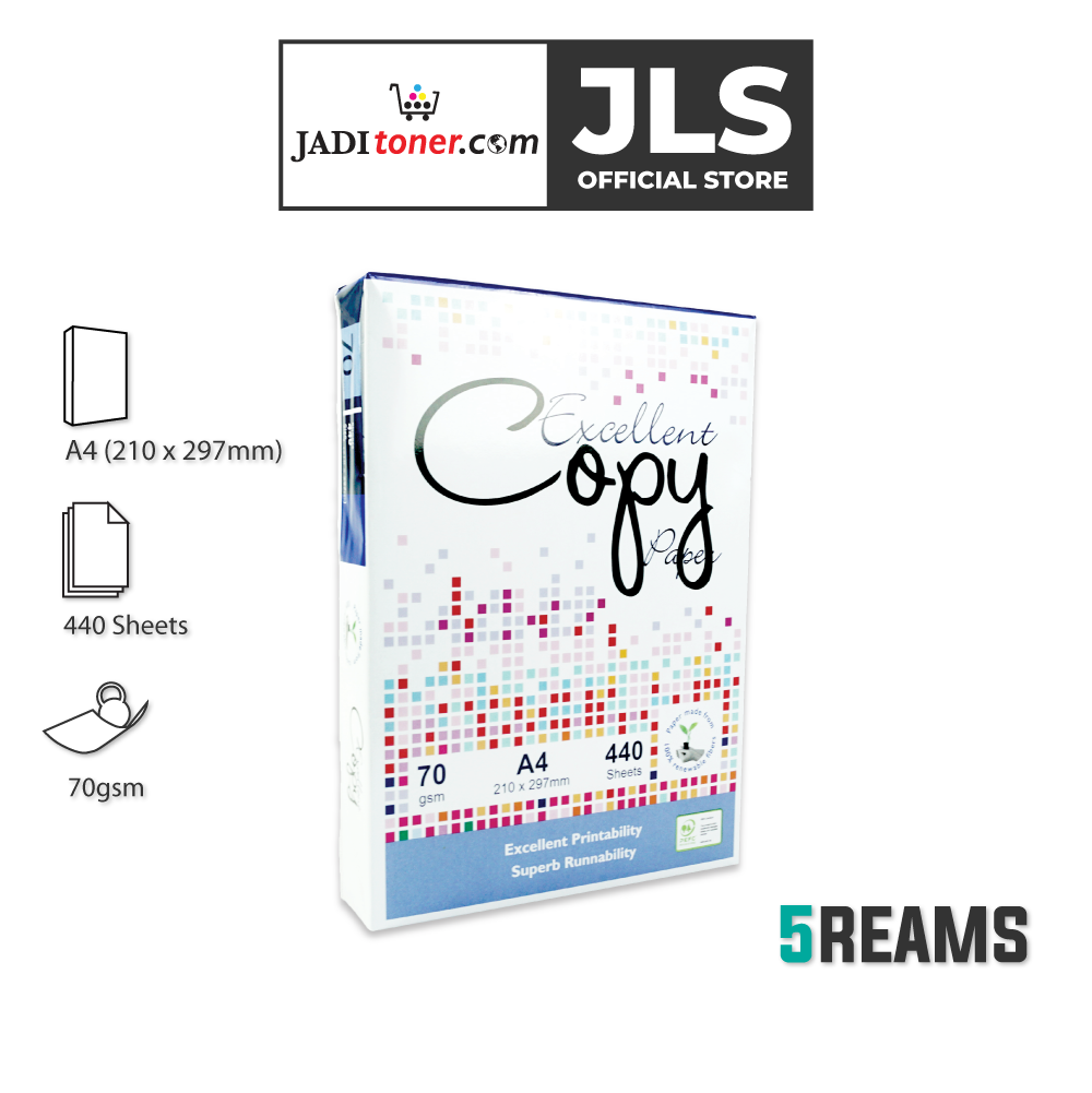 (5 Reams, 440 Sheets) Excellent Copy A4 Copier Paper - 70 GSM