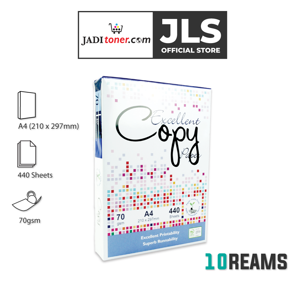 (10 Reams, 440 Sheets) Excellent Copy A4 Copier Paper - 70 GSM