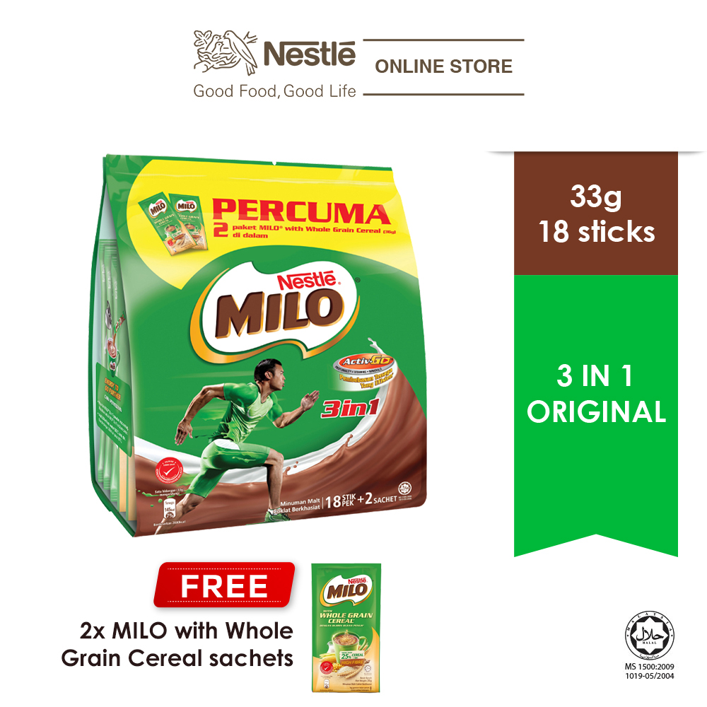 Nestle MILO 3 in 1 Activ-Go Chocolate Malt Powder (33g x 18s), Free 2 sticks Milo Whole Grain Cereal