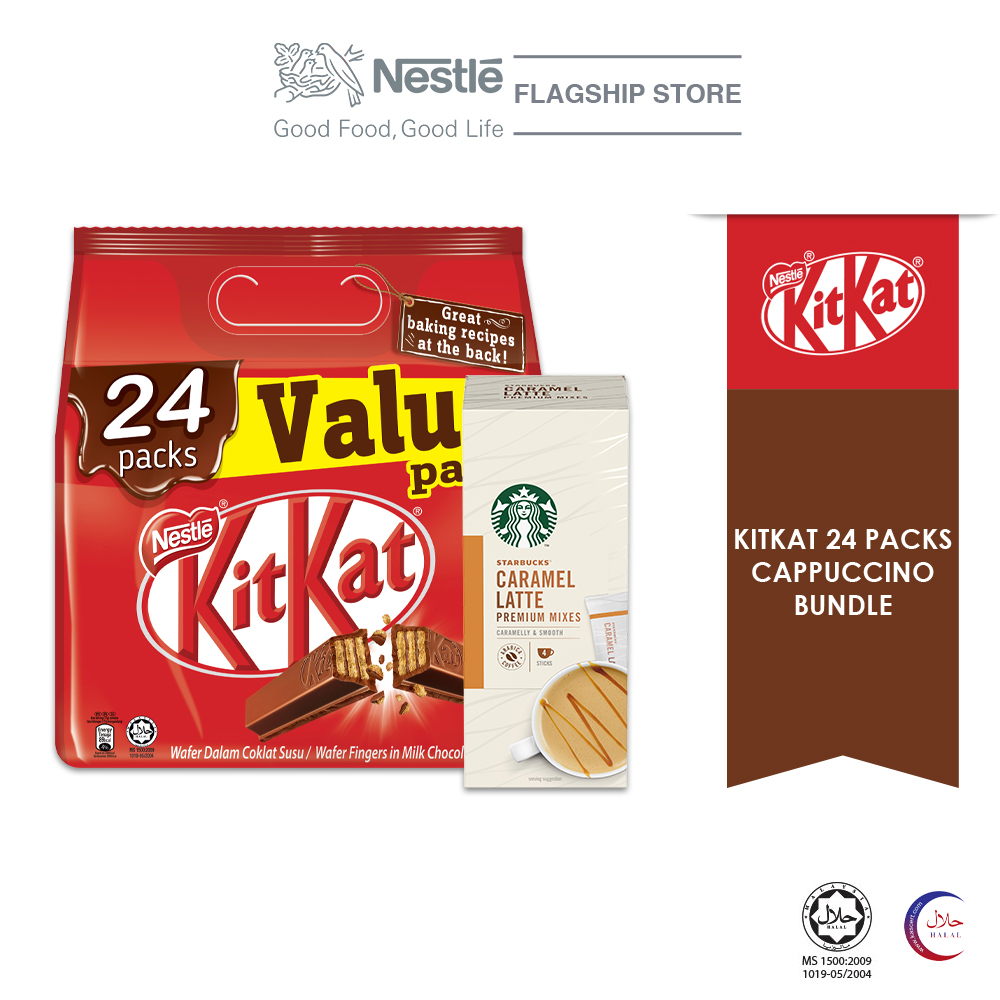 Nestle KITKAT 2F 24x17g Sharebag and Starbucks Caramel Latte Bundle