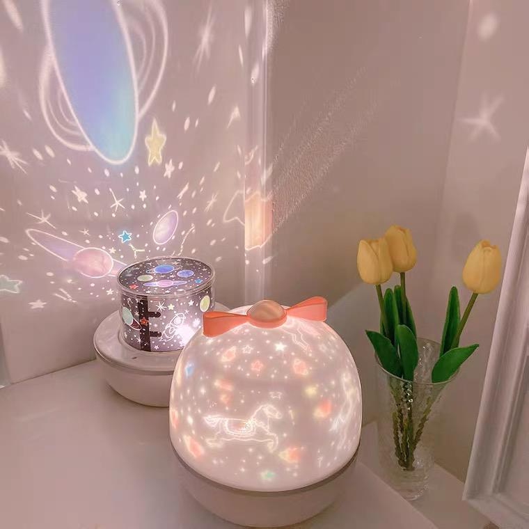 [Ready Stock]Starry Sky Projection Lamp Rotating Bedroom Bedside Night Light ins