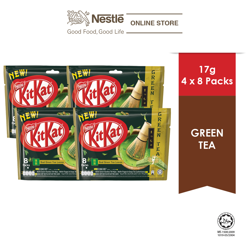 Nestle KITKAT 2-Finger Chocolate Green Tea Pack, 8s , Bundle of 4