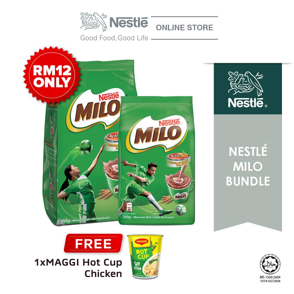 Nestle Milo Bundle (Milo Active Go 200g + 400g), Buy 1 Free 1 Maggi Hot Cup Chicken