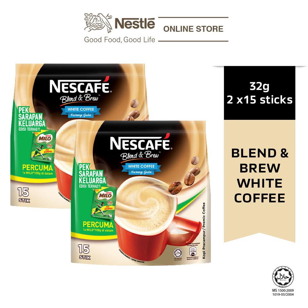 NESCAFE Blend & Brew White Coffee 15x32g, Free Milo Softpack 100g, Bundle of 2