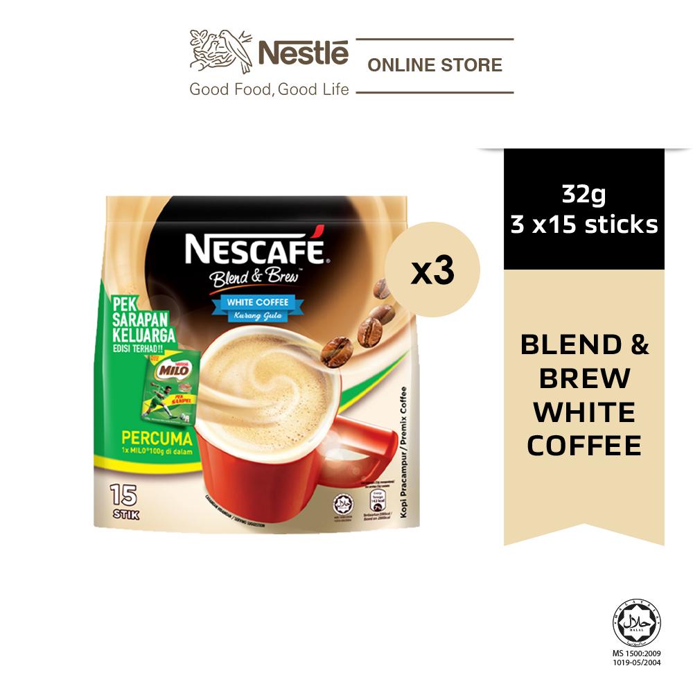 NESCAFE Blend & Brew White Coffee 15x32g, Free Milo Softpack 100g, Bundle of 3