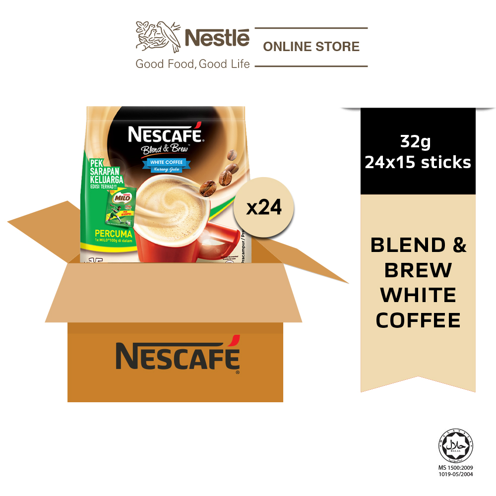 NESCAFE Blend & Brew White Coffee 15x32g, Free Milo Softpack 100g (Carton)
