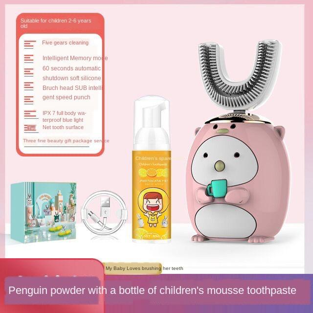 【Ready stock】Children s u-shaped electric toothbrush cute cartoon non-toxic silicone mouth-mounted waterproof