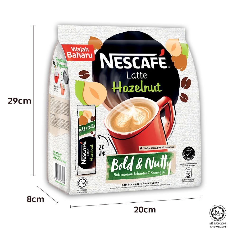 NESCAFE Latte Hazelnut 20 Sticks 24g x3 packs