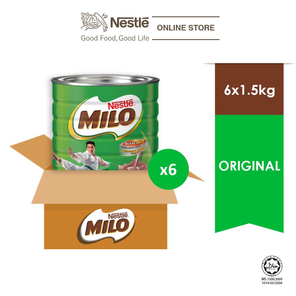 NESTLÉ MILO ACTIV-GO CHOCOLATE MALT POWDER Tin 1.5kg x 6 Tins  (Carton)