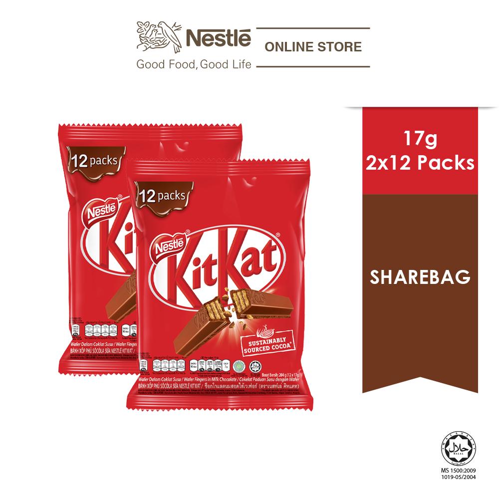 Nestle KITKAT 2F Chocolate Share Bag 12s, Bundle of 2
