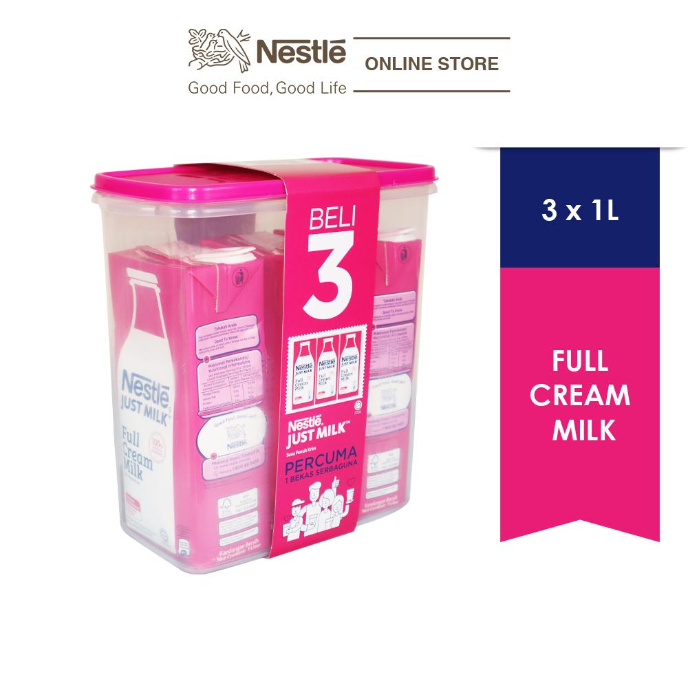 NESTLE JUST MILK Full Cream 3x1L, FREE Container