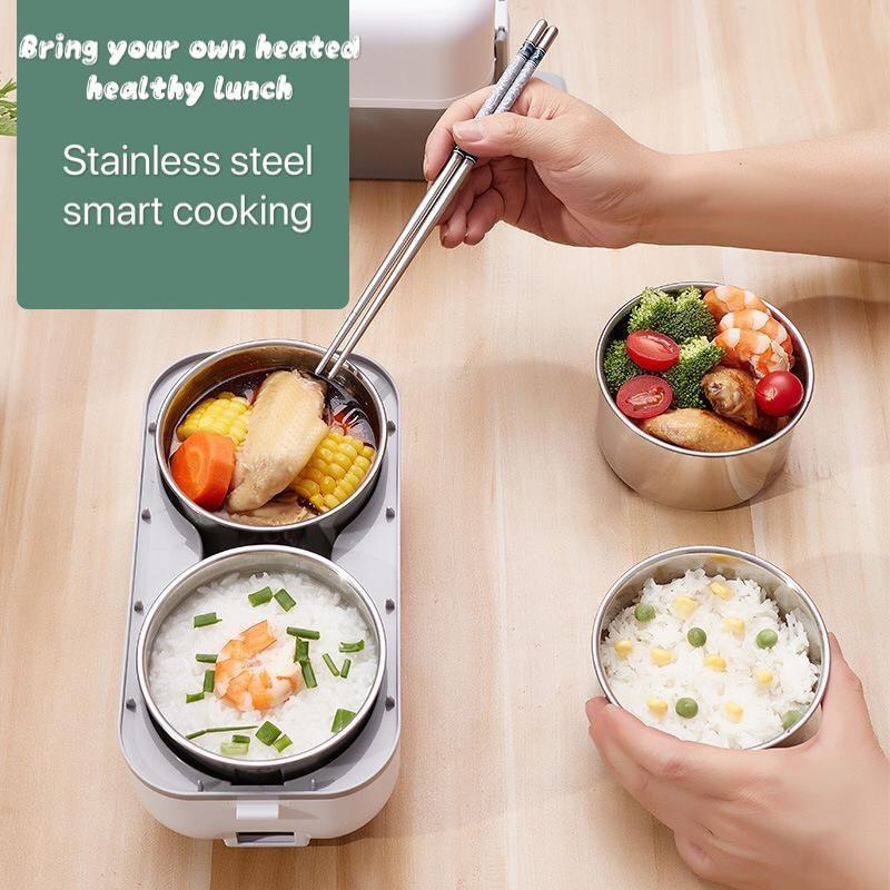 Portable Electric Lunch Box Heating Double Layer Stainless Multifunctional Mini Rice Cooker