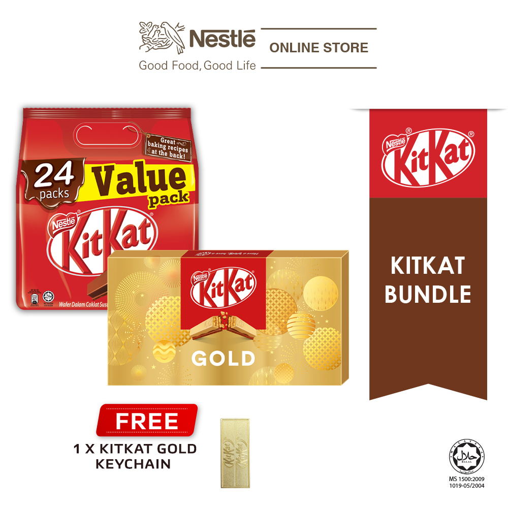 Nestle KITKAT Gold Bundle (KITKAT 24s Sharebag + Festive Box Gold)