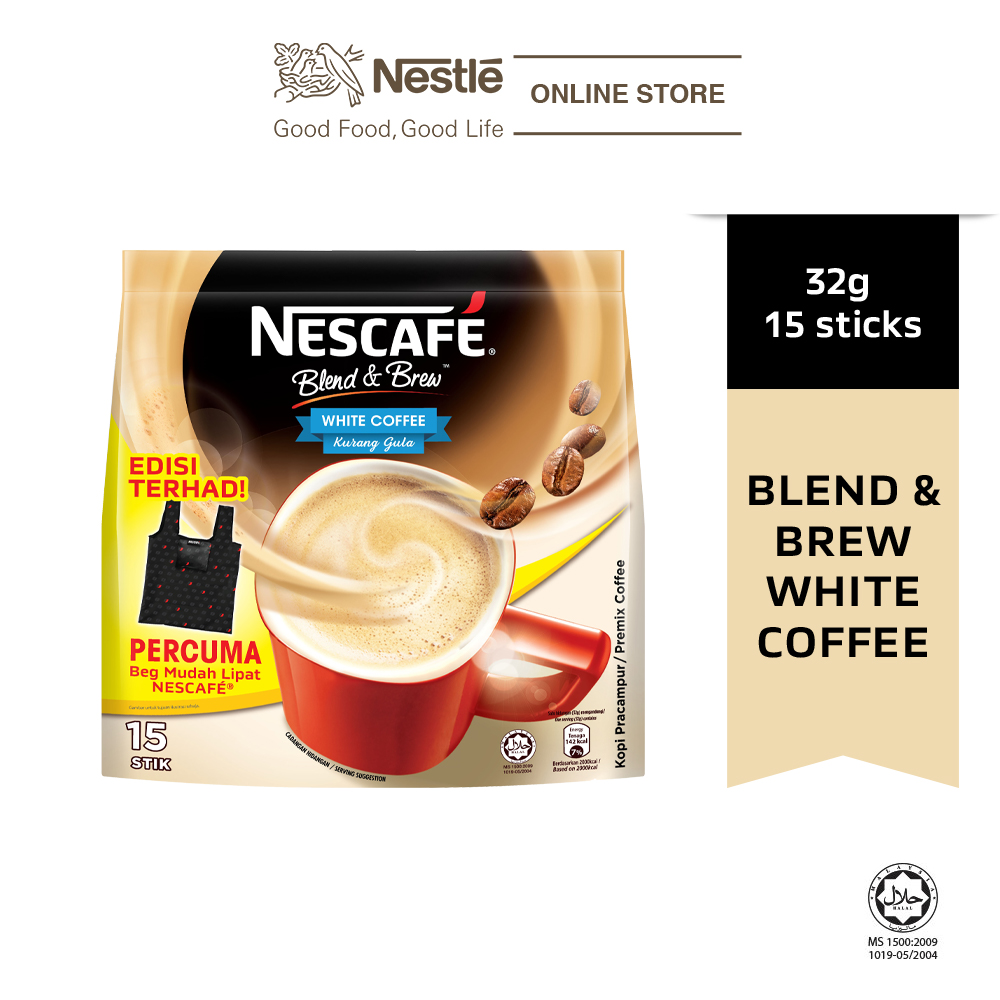 Nescafe Blend and Brew White Coffee 15 Sticks, 32g Each Free Foldable Bag