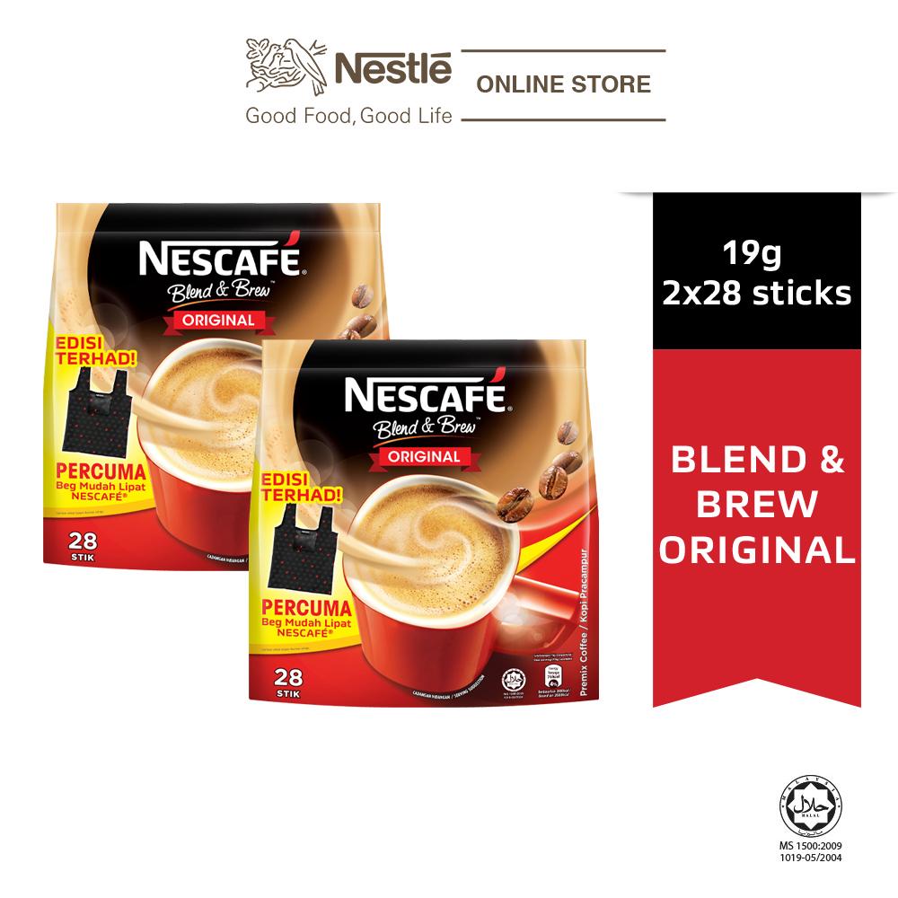 Nescafe Blend and Brew Original 28x19g Free Foldable Bag, x2 packs