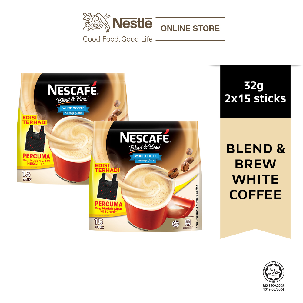 Nescafe Blend and Brew White Coffee 15 Sticks, 32g Each Free Foldable Bag, x 2 packs