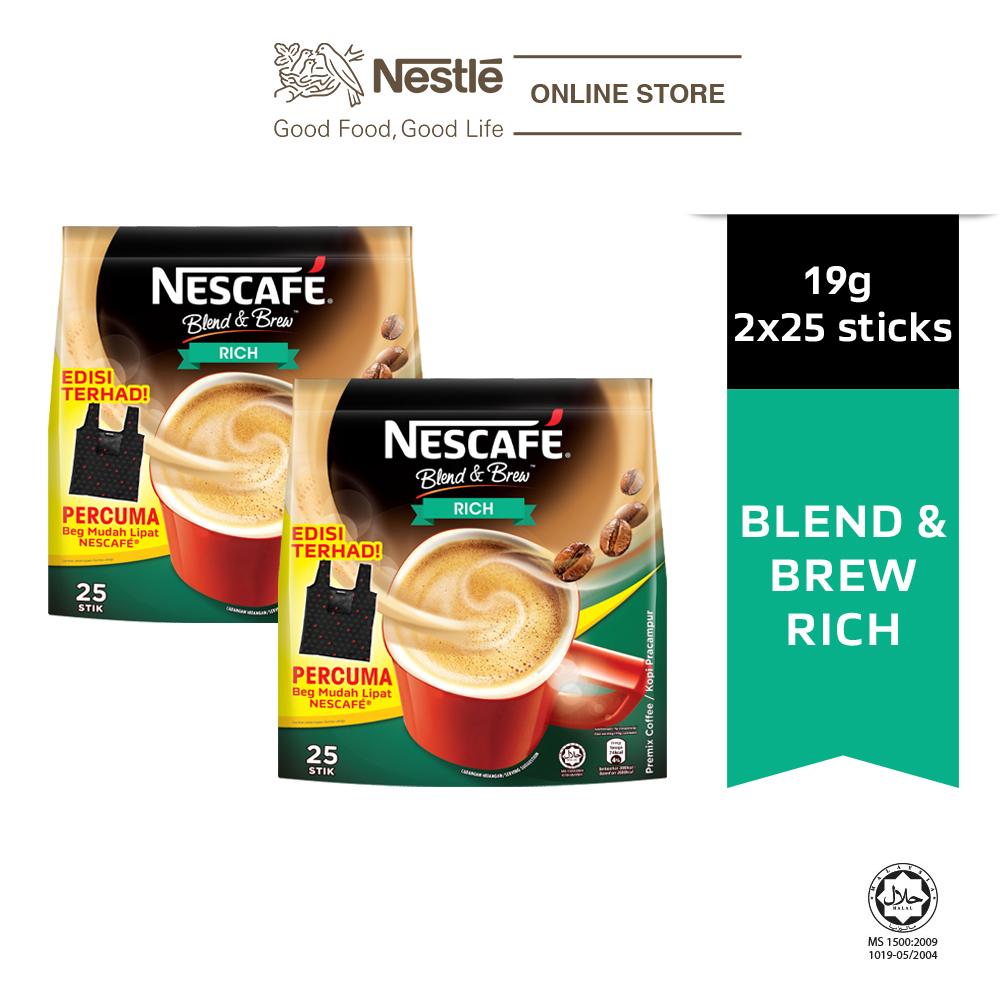 NESCAFE Blend and Brew Rich 25 Sticks 19g Free Foldable Bag, x2 packs