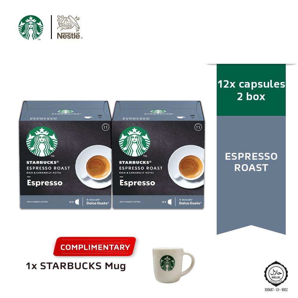 STARBUCKS Espresso Roast 12 Cap 66g, x2 boxes FREE Espresso Mug