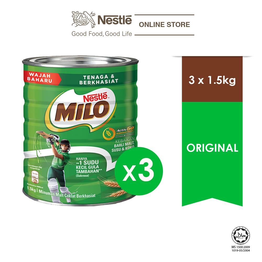 NESTLE MILO ACTIVE -GO CHOCOLATE MALT POWER TIN 1.5 kg, Bund...