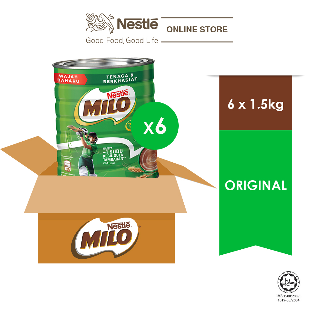 NESTLÉ MILO ACTIV-GO CHOCOLATE MALT POWDER Tin 1.5kg x 6 Tins  (Carton)