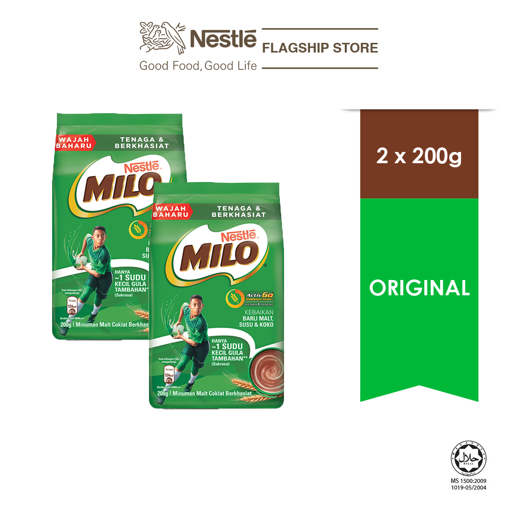 NESTLÉ MILO ACTIV-GO CHOCOLATE MALT POWDER Soft Pack 200g x2 packs