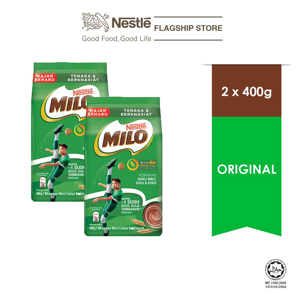 NESTLÉ MILO ACTIV-GO CHOCOLATE MALT POWDER Soft Pack 400g x 2 packs