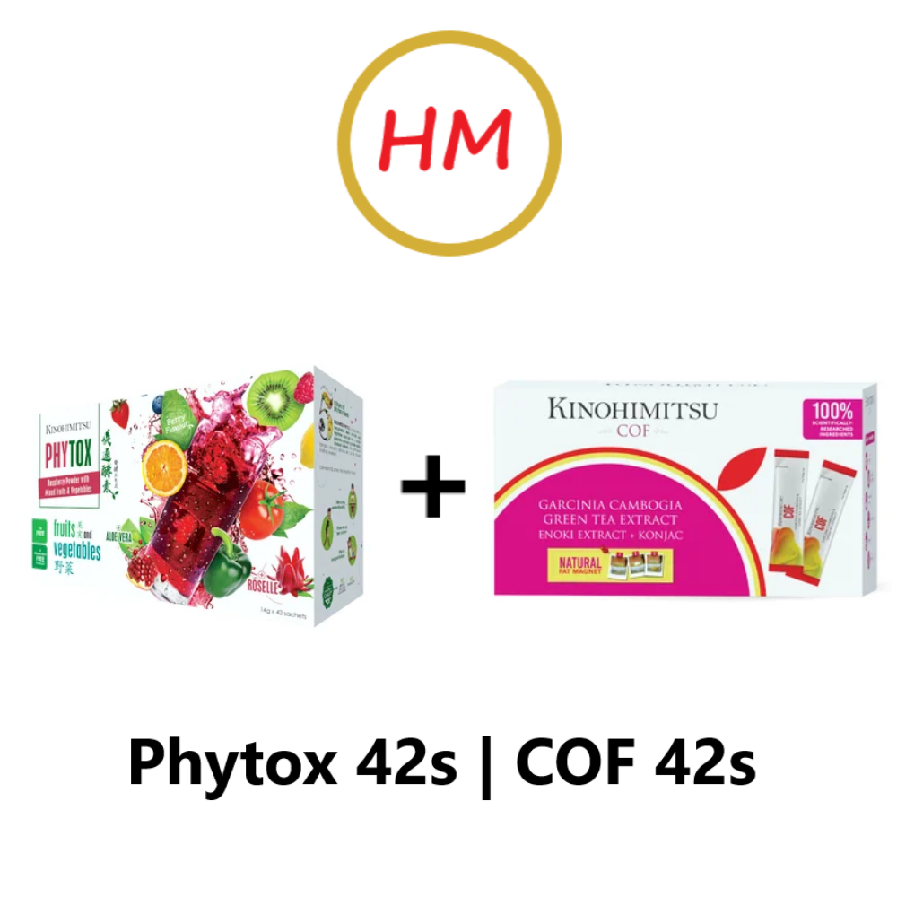 Kinohimitsu COF 42s (6g x 42) Cut Oil Formula & Kinohimitsu Phytox Dtox Enzyme Juice (42s x 14g)