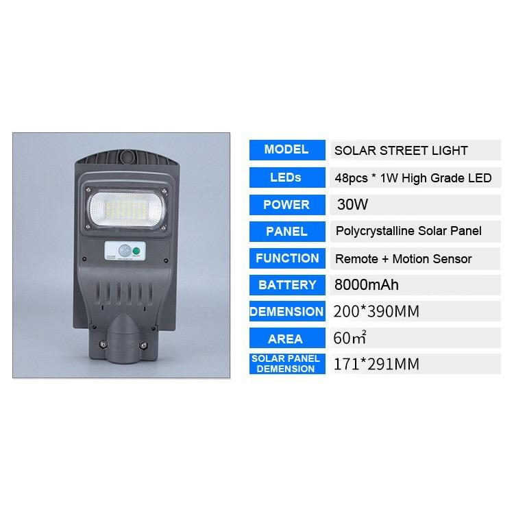 30W Solar Light PIR Motion Sensor Hight lumens outdoor Solar street lamp Waterproof Lamp&Remote Control