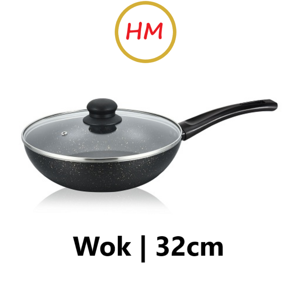 Ringo 32cm Daikin Coating IH Frypan Wok with Lid